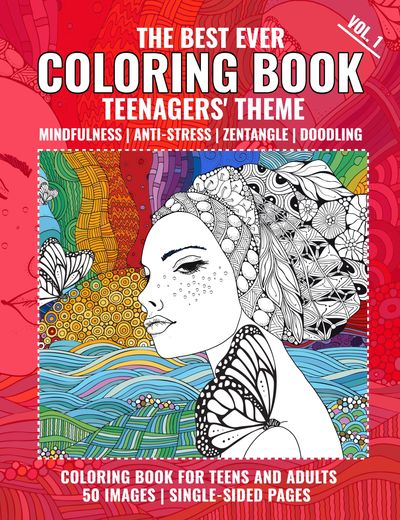 teenagers' coloring book, mindfulness coloring book, zentangle coloring book, doodle coloring book