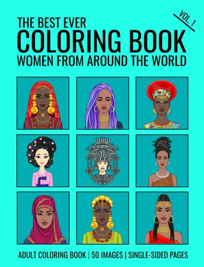 Adult coloring book. Mindfulness coloring. Zentangle coloring. Women faces. Coloring ethnic faces.