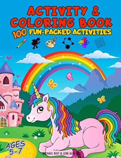 Coloring book girls age 4-8. Unicorn coloring book, princess coloring book, Activity book girls