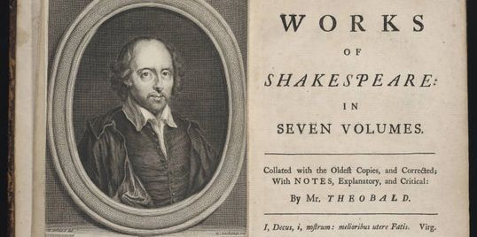 Title page of Theobald's 1733 ed. (Folger Shakespeare Library)