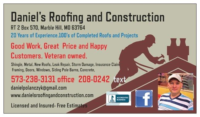 Roofing Contractor Daniels Roofing And Construction Llc