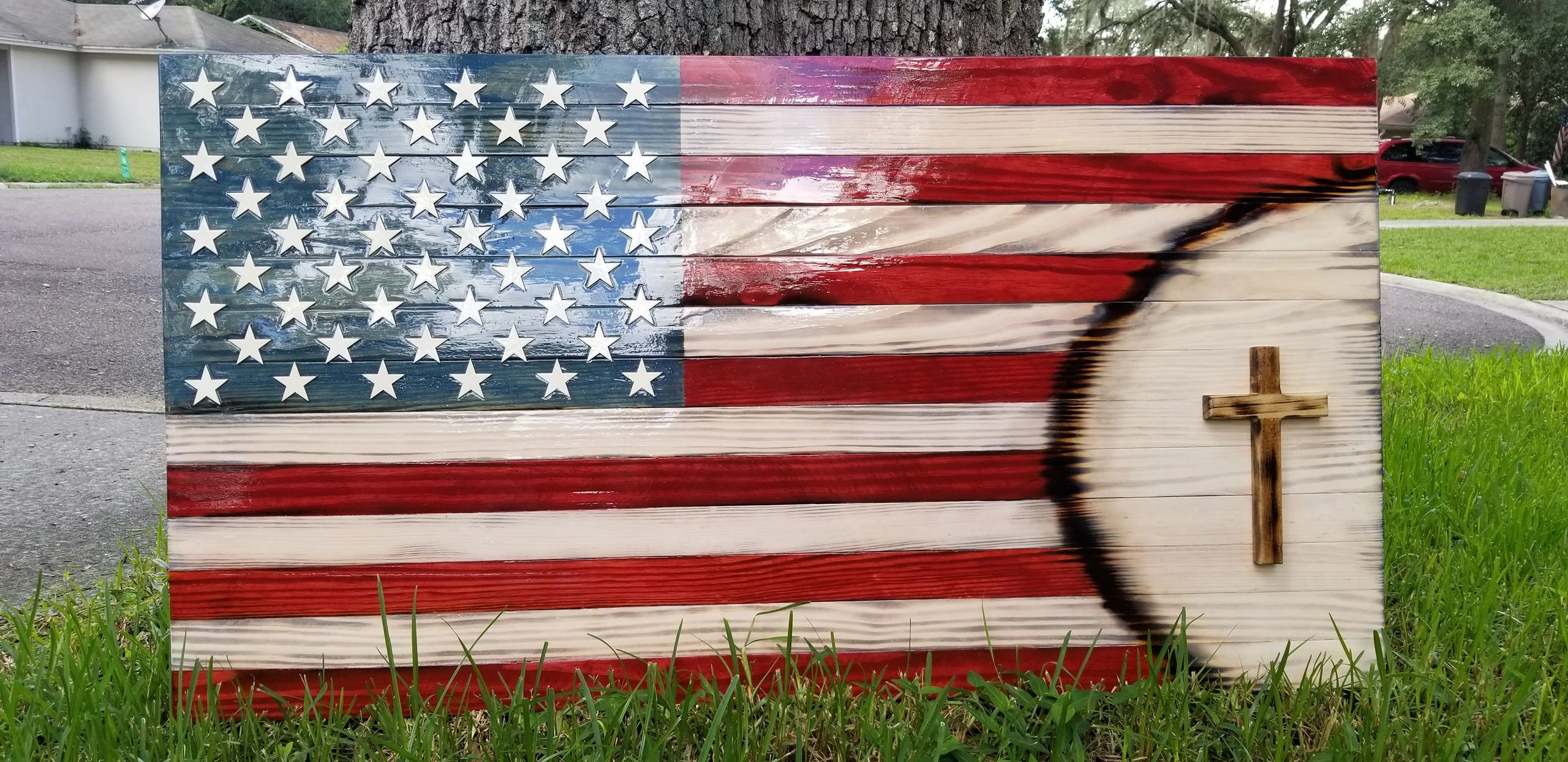 Rustic Home Decor Patriotic American Flags Home Grown Wooden Flags