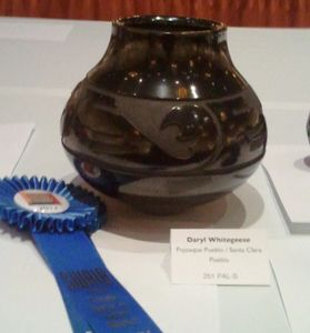 Black Carved Bowl with Animal Design - First Place Div C