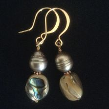 Pearl, shell earrings with hand forged gold-filled wires