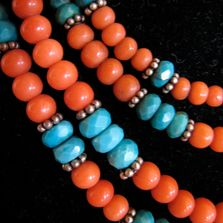 Necklace with coral, faceted turquoise and sterling silver