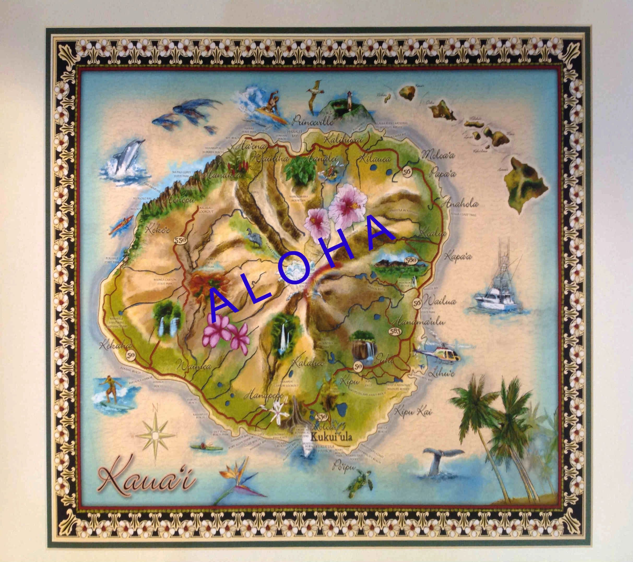 Kauai Fine Arts Hawaiian Products Maps Prints