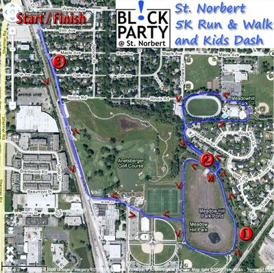 The map of the 5K Fun Run: a flat out & back course through Techny Prarie and Meadowhill Parks