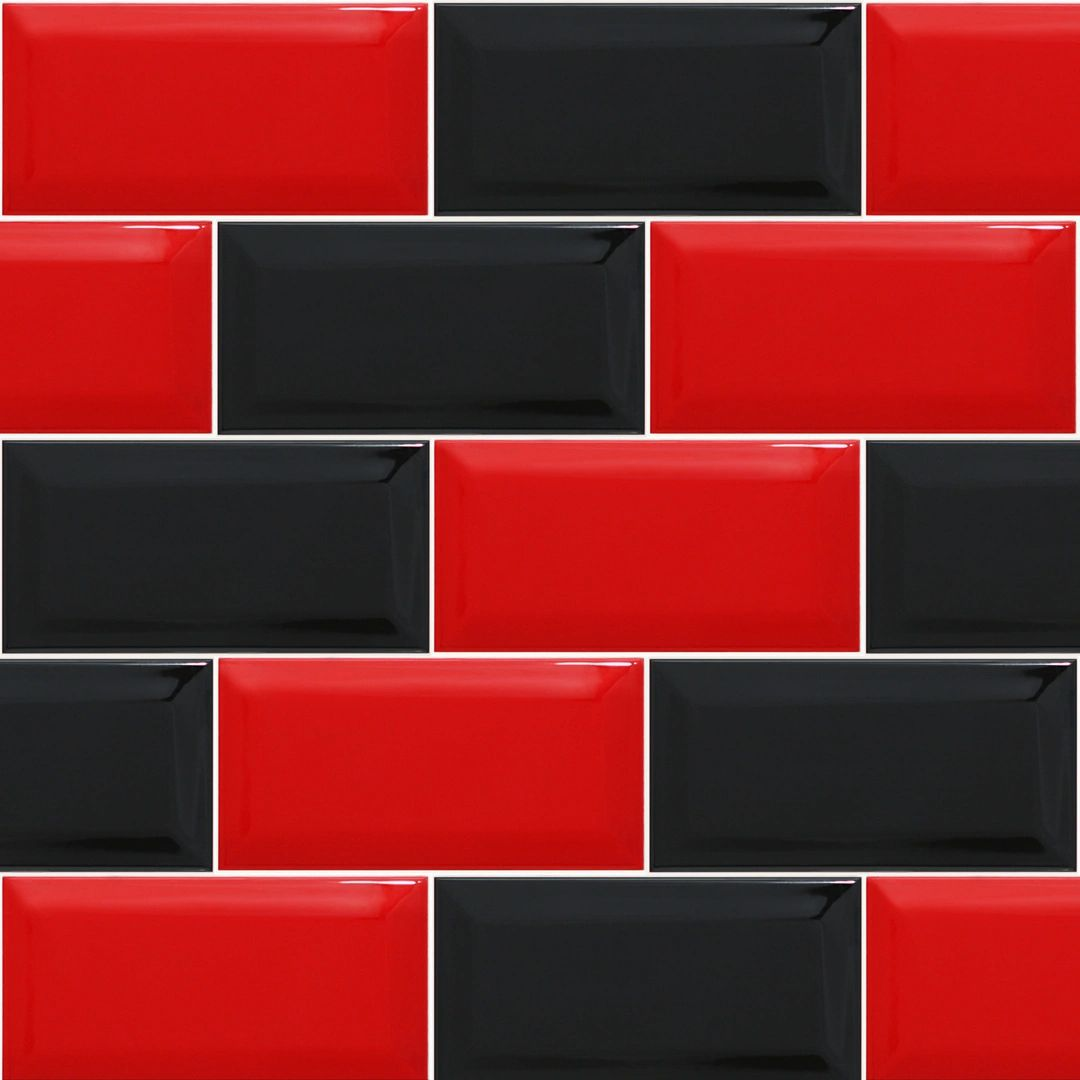 Red And Black Kitchen Tiles