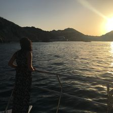 Watching  the sunset from the Rissalena Catamaran.