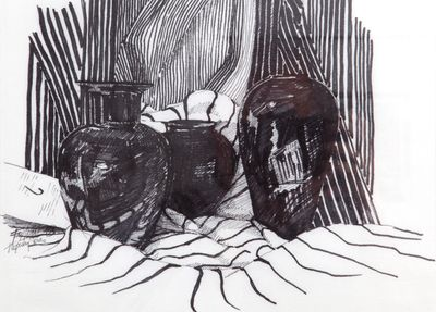 A still life drawing of Black Amythyst vases - pen & ink