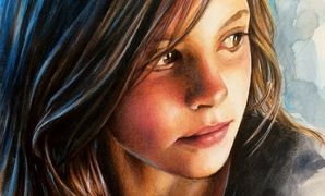 Realistic portrait paintings in watercolor and colored pencils by Christine Karron