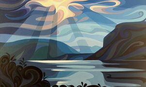 Shuswap Lake, acrylic painting on canvas by Christine Karron, 30x40x1.5""