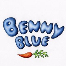 Benny Blue Rabbit by Christine Karron, illustration, cartoon, whimsical fictional character