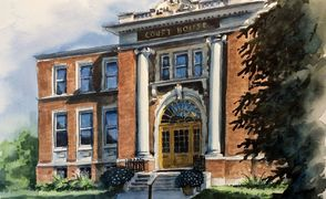 Old Court House in Red Deer, Alberta, Canada, by the local artist Christine Karron