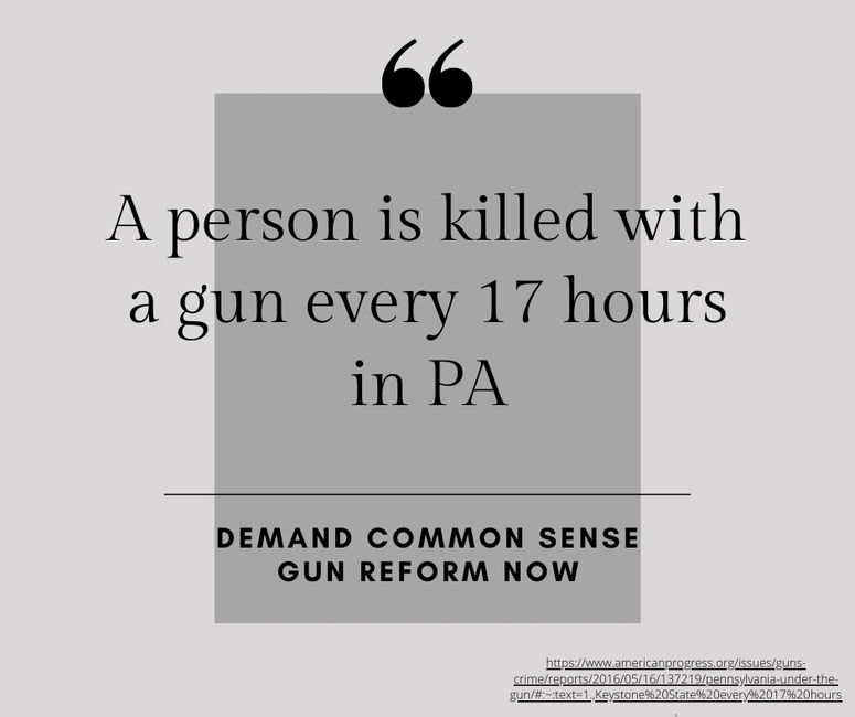 A person is killed with a gun every 17 hours in PA. Demand common sense gun reform now