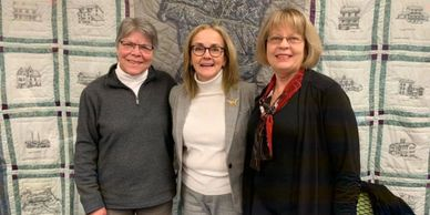 A picture of Nancy with Re. Madeleine and UM Dem Susan Laworth LaManna