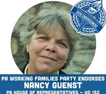 An endorsement logo and picture from the Working Families Party