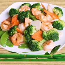 Chinese food restaurant shrimp and vegetables