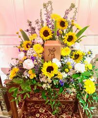 Sympathy flowers, funeral flowers with sunflowers