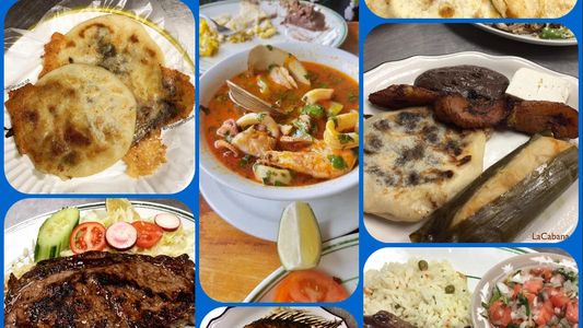 Collage of Salvadoran dishes: pupusas revueltas, seafood soup and a pupusa, tamal and plantain combo