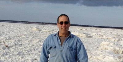 Joe Martins, Owner at Skaket Beach, Orleans in 2015 during the ice-over