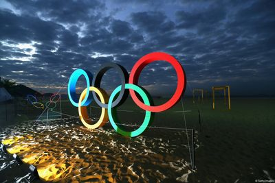 Rio 2016 - Olympic Rings on Copacabana Beach