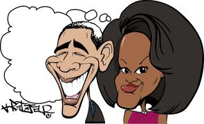Barack & Michelle Obama Caricature cartoon ma