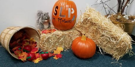 Fall waiting room decor, Speech Language Pathology in Motion
