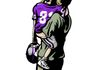 Stylized illustration of a little girl in a football uniform being held by her Dad