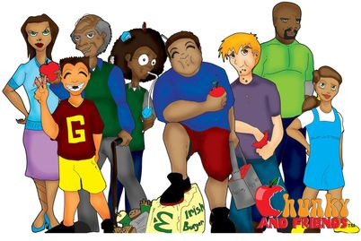 Image of characters from the Chunky And Friends book series. Promoting healthy eating & active play.