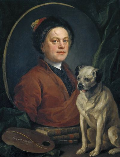 William Hogarth with his pug, self-portrait, Tate Gallery