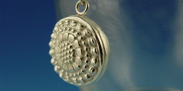 handcrafted fine silver, metal clay pendant