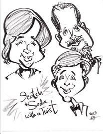 Caricature by Katherine Hosack of Scotch & Soda with a Twist with Don Burts and Pete Cash.