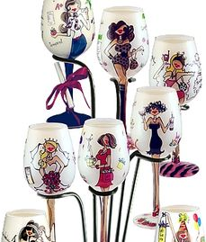 Glass wine glasses and goblets hand painted for Kitschy Collectibles. Hand painted glass home decor.