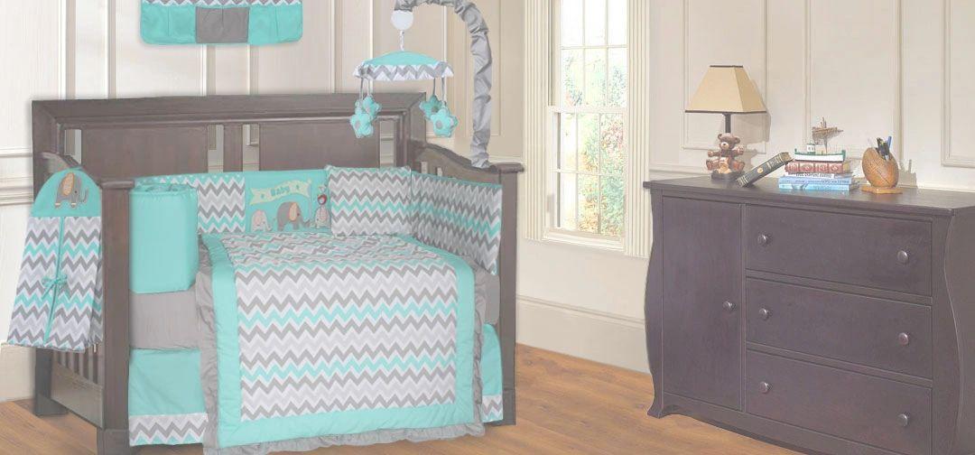 BabyFad 10 Piece Elephant Turquoise Baby Crib Bedding set