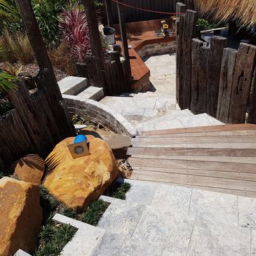 travertine tiling concrete stairs decking sleepers