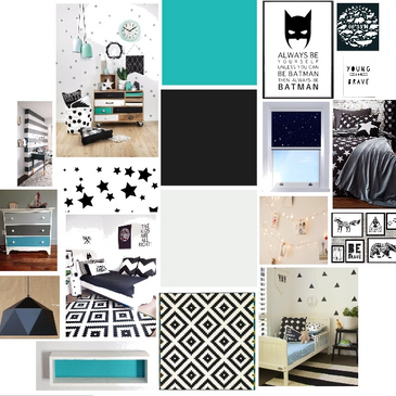 monochrome kids room be batman teal black and white stars