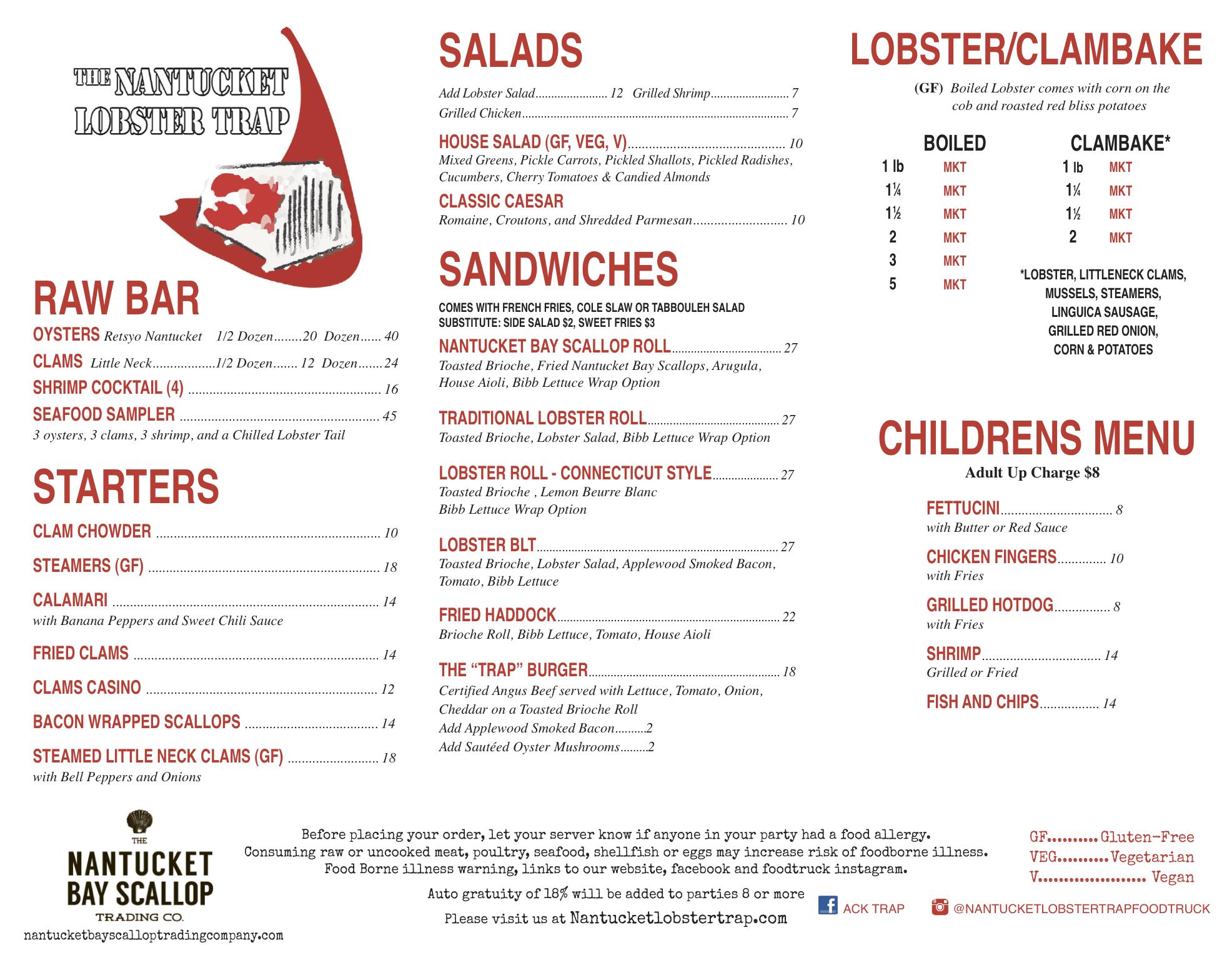 Menus | Nantucket Lobster Trap