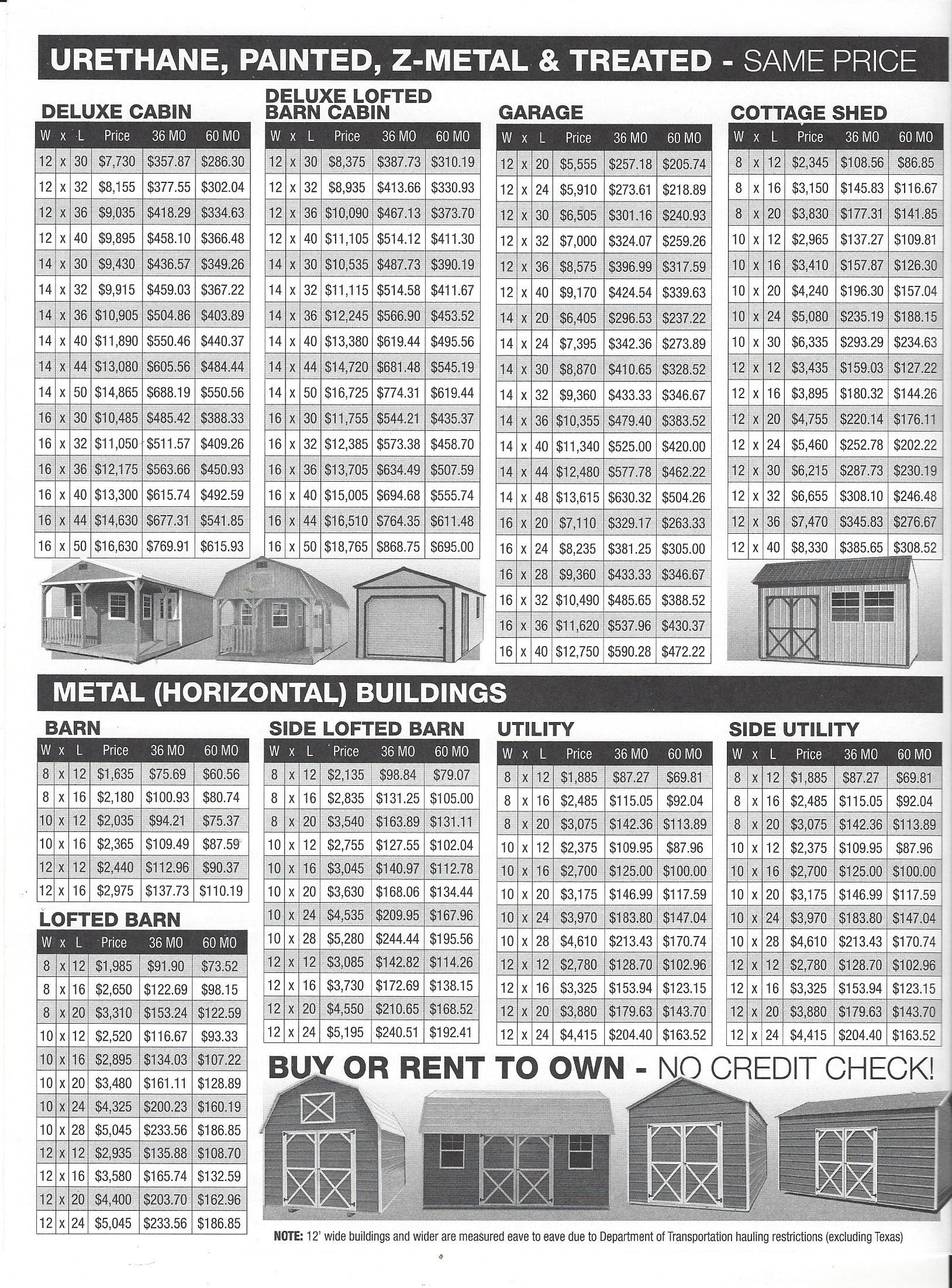 Derksen Storage Prices Sealy Portable Buildings