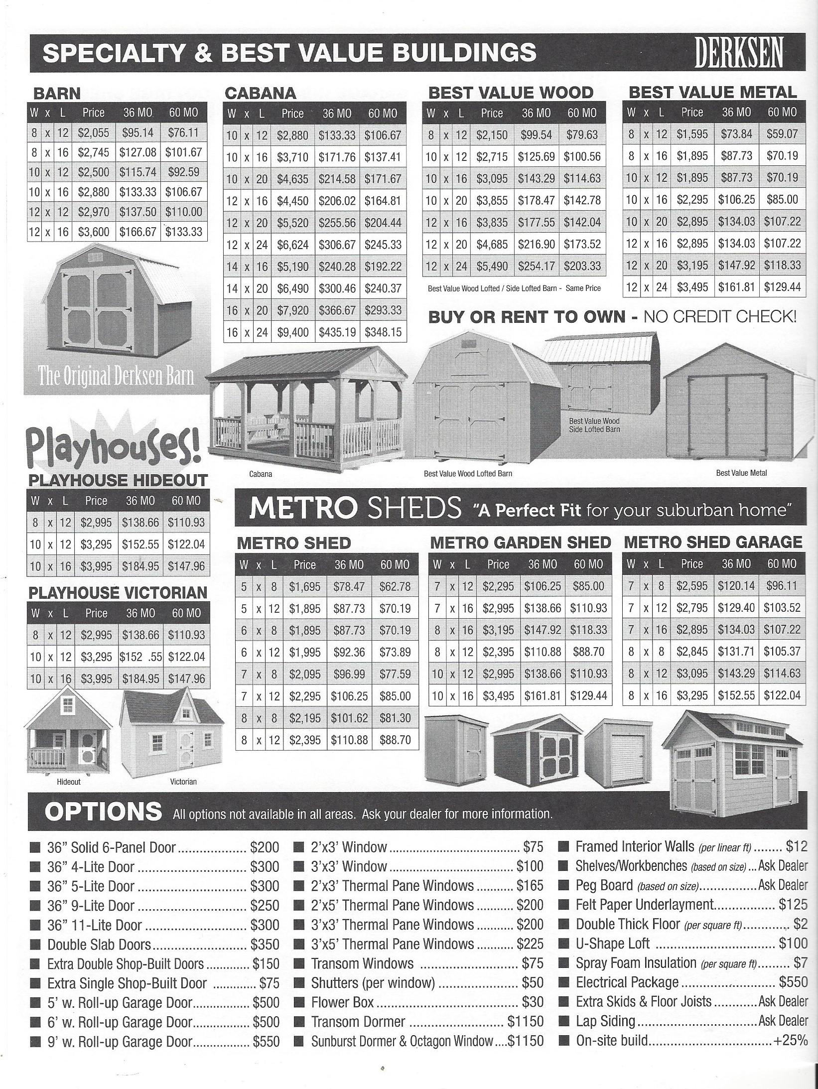 Derksen Cabin Prices