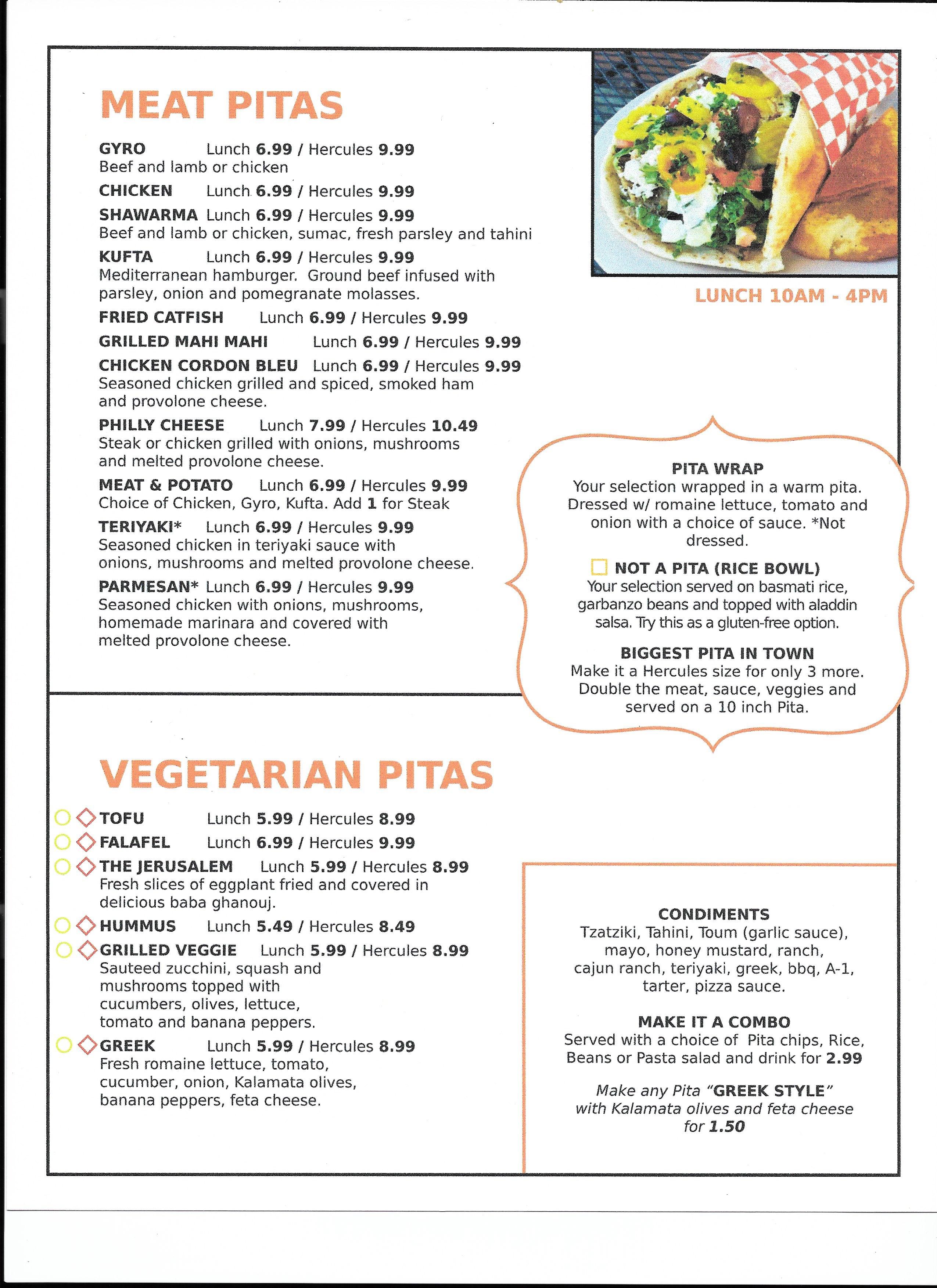 Menu | Eat A Pita