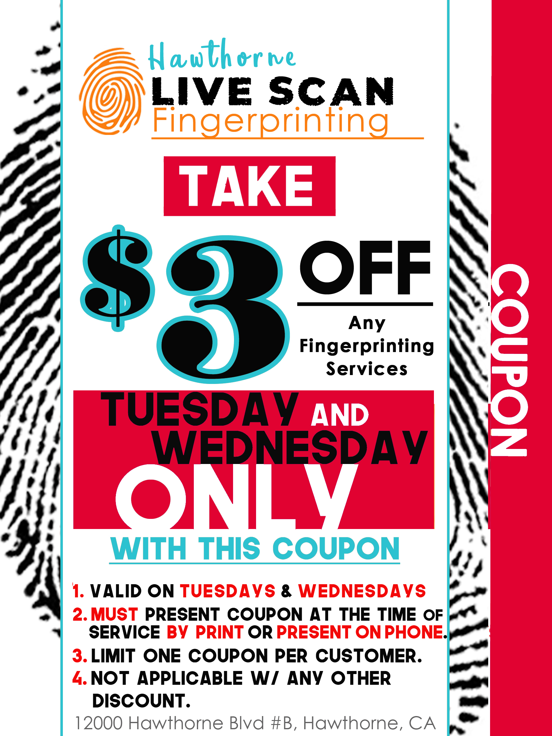 Coupons Hawthorne Live Scan