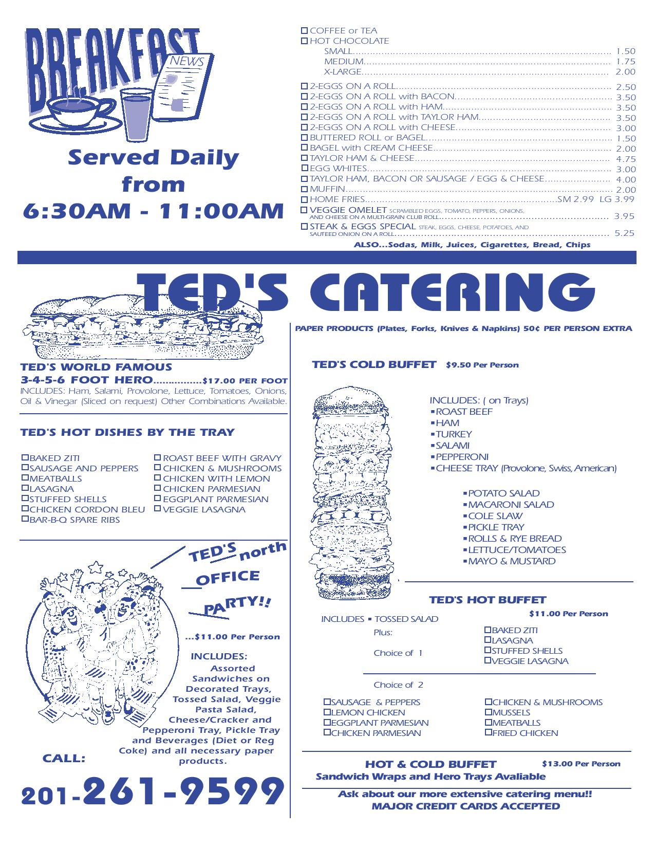 image regarding Printable Menus identified as Printable Menu Teds North