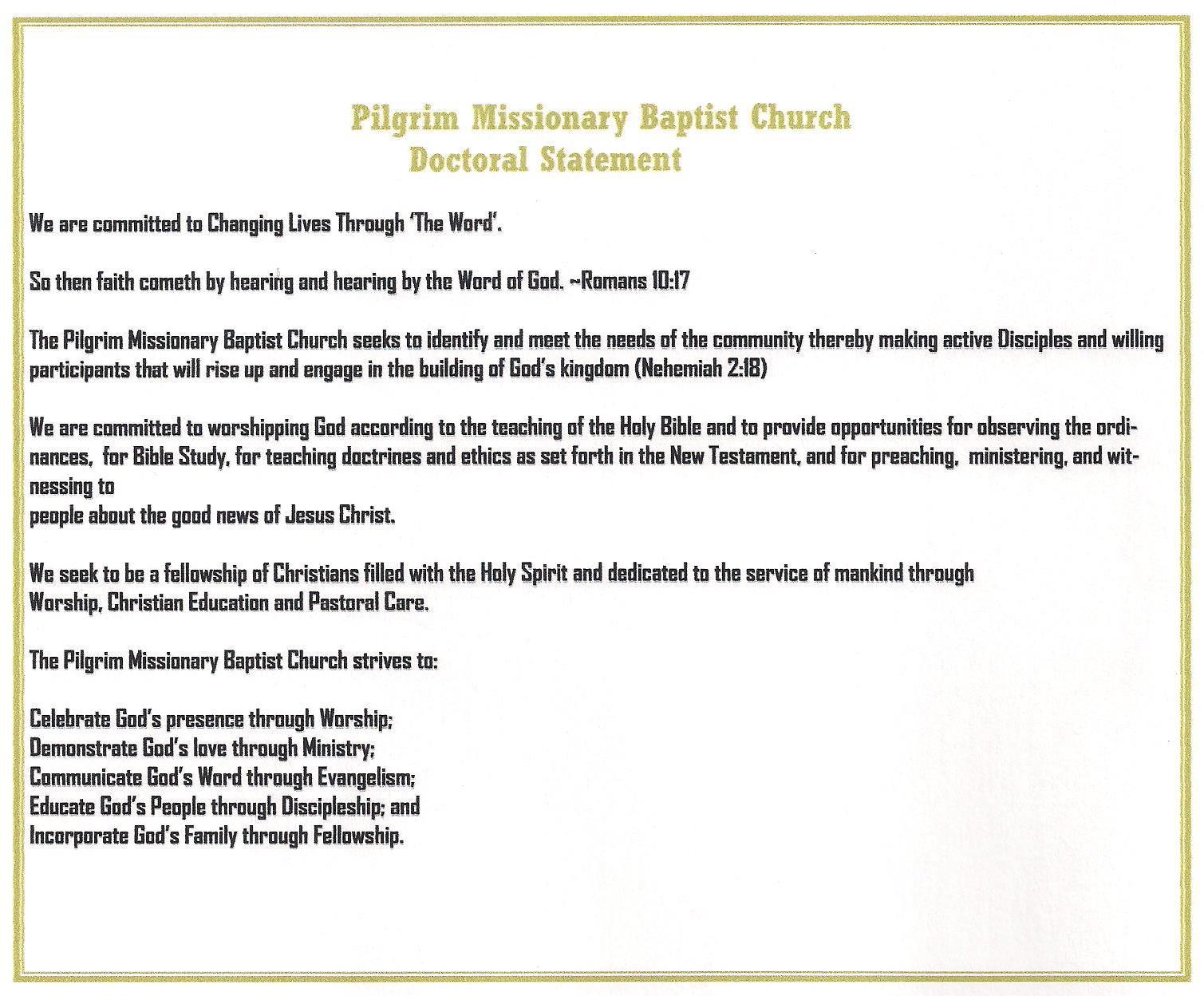History | Pilgrim Missionary Baptist Church