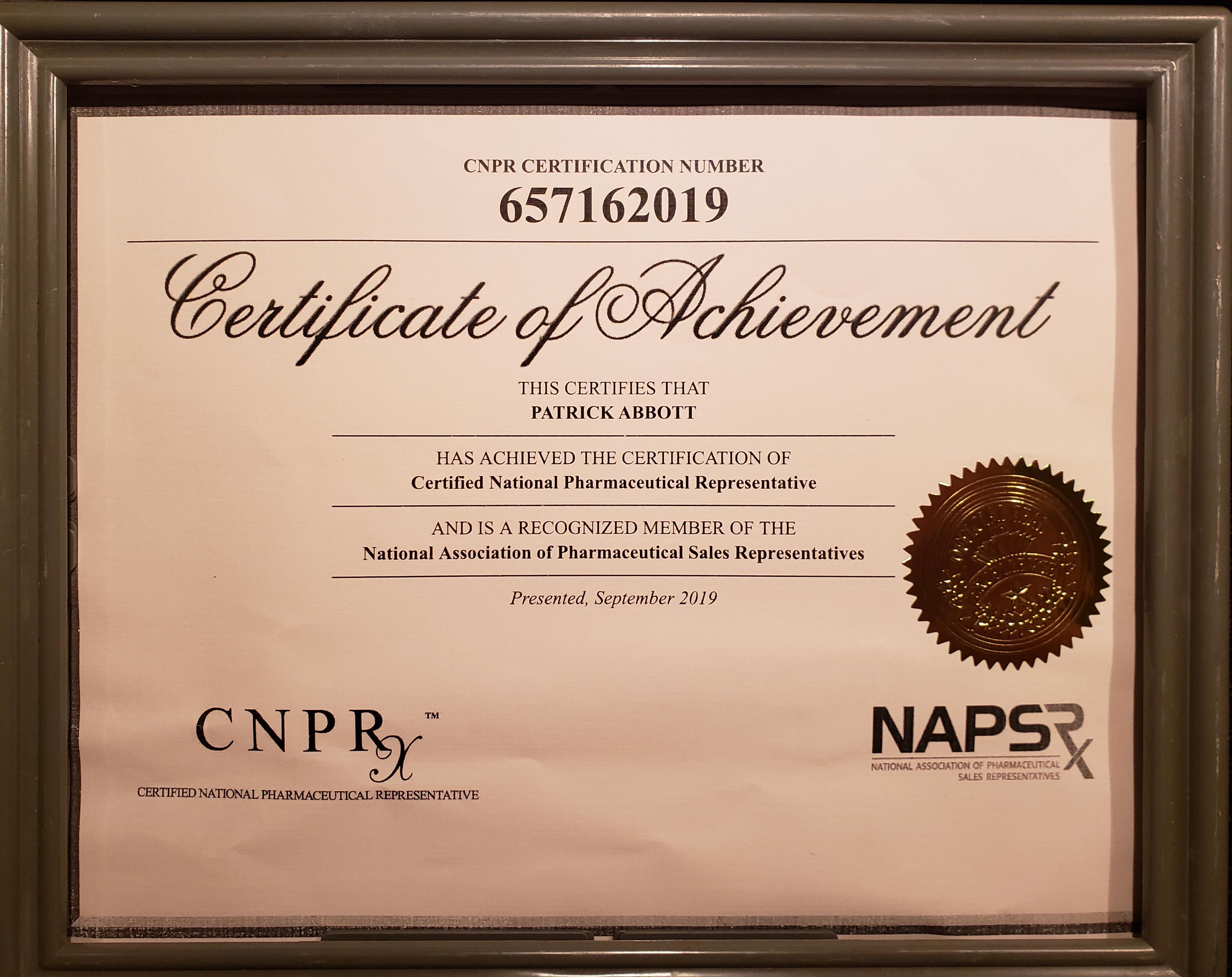 2d glove specs pdf cnpr certification