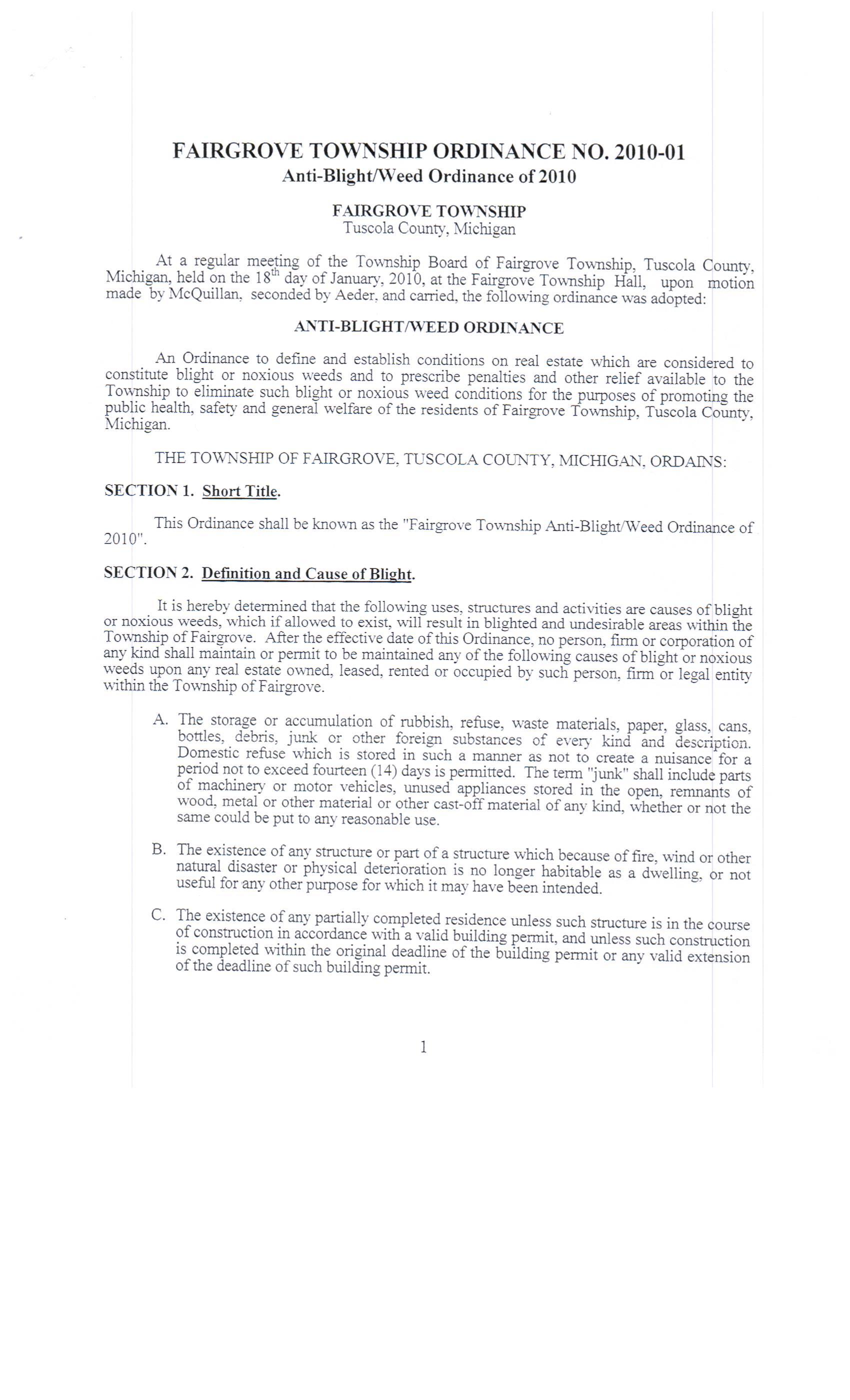 Documents | Fairgrove Township
