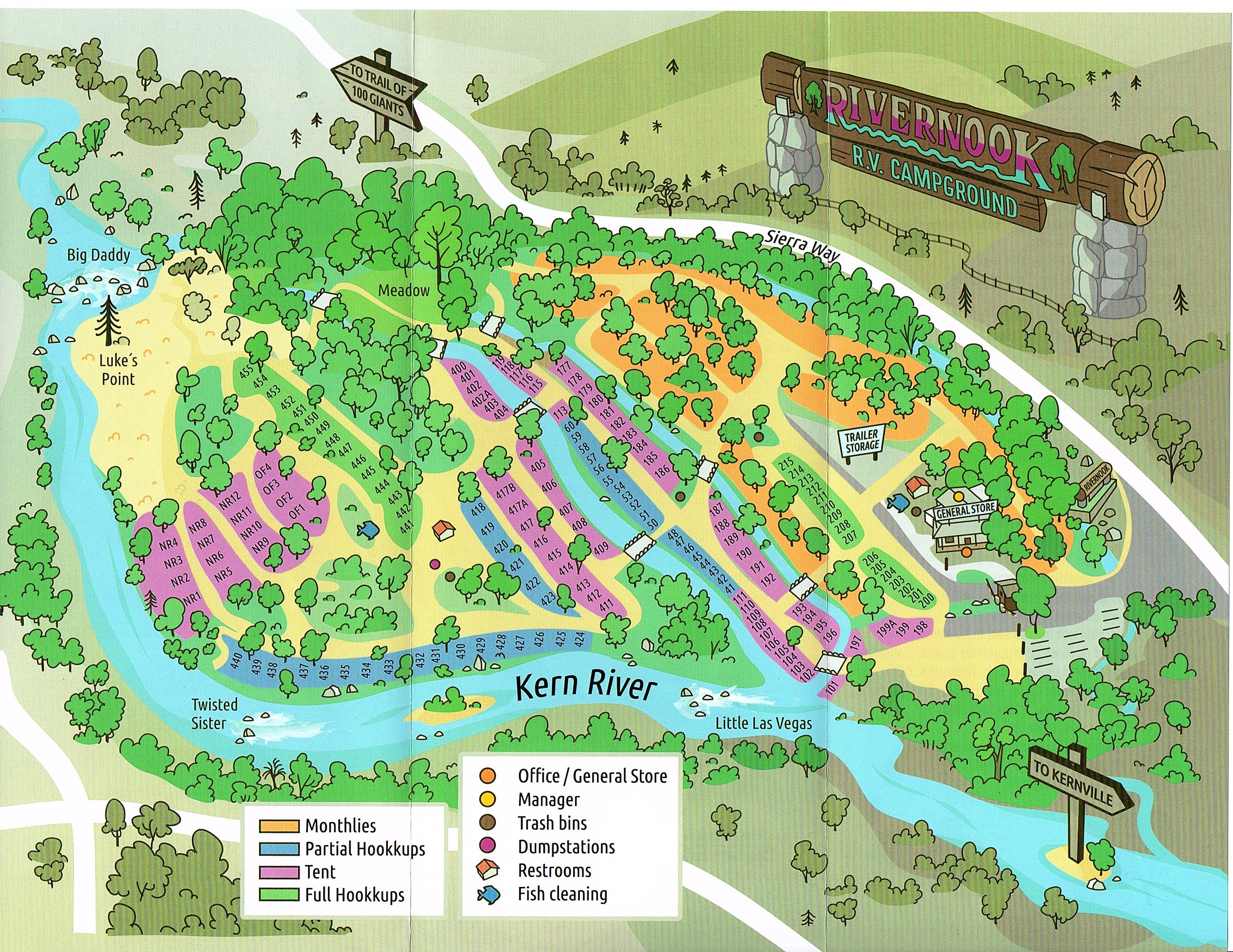 Kern River Camping Map Campground Map | Rivernook Campground Inc.