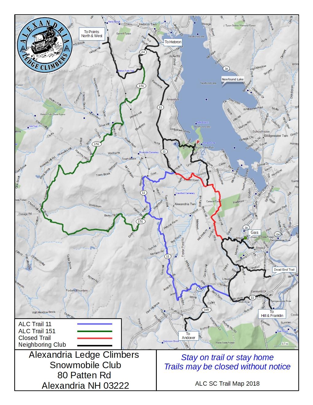 Trail Map   Alexandria Ledge Climbers Snowmobile Club on