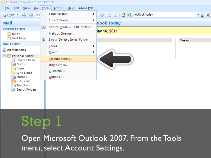 Outlook 2007 Setting up Workspace Email