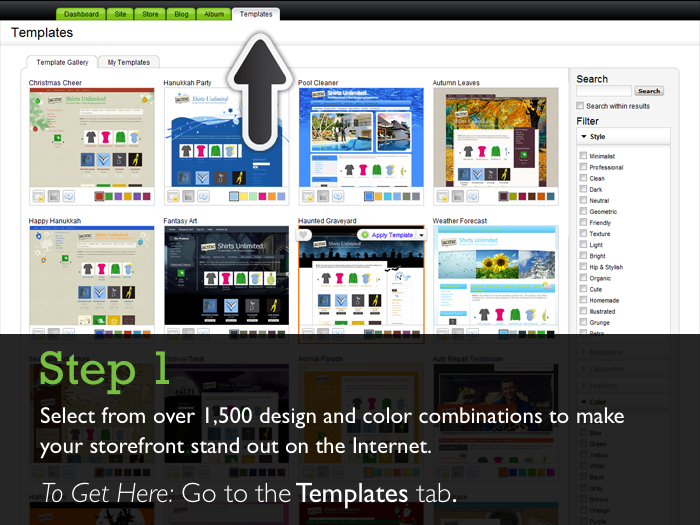 Walkthrough designing your store in quick shopping cart for Godaddy ecommerce templates